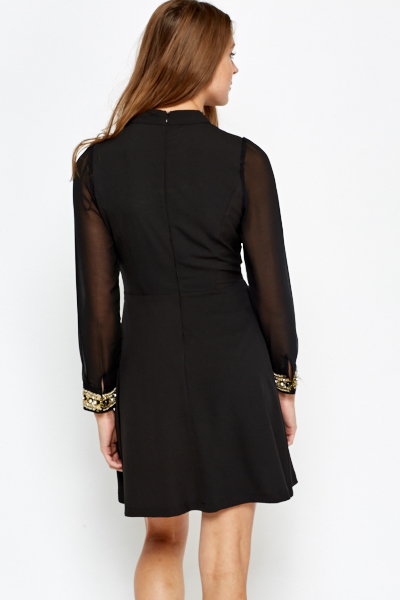 High Neck Embellished Cuff Dress