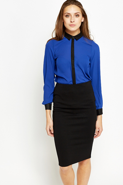 Royal Blue Contrast Blouse