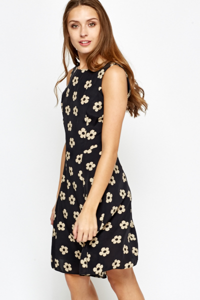 Sleeveless Mono Floral Swing Dress