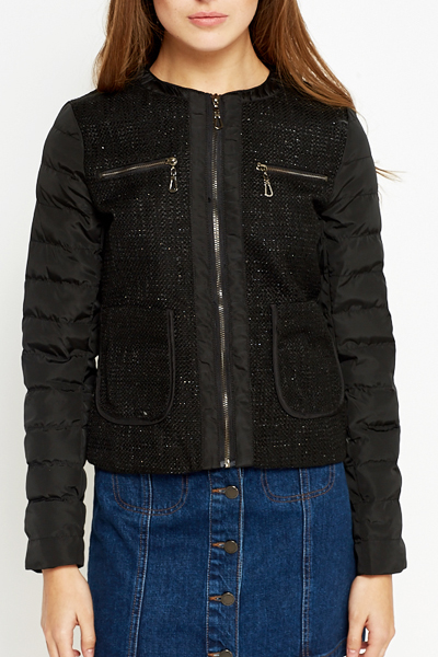 Woven Zip Up Puffa Jacket