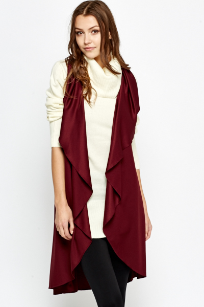 Burgundy Waterfall Sleeveless Cardigan - Just £5