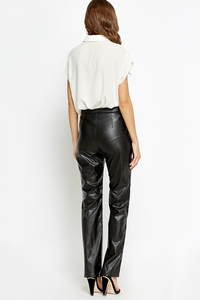 High Waisted Faux Leather Straight Leg Trousers