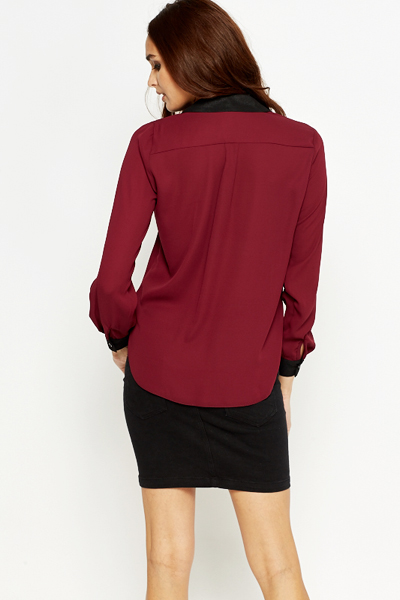 Plum Contrast Trim Blouse