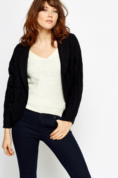 Cable Knit Panel Chunky Cardigan