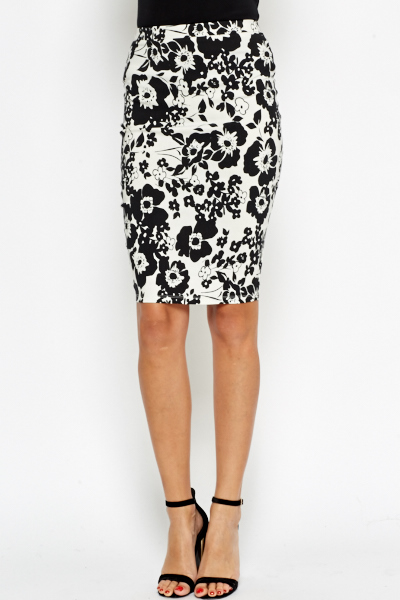 Floral Printed Midi Pencil Skirt - Just £5