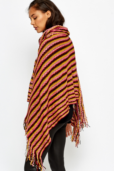 Fringed Stripe Poncho