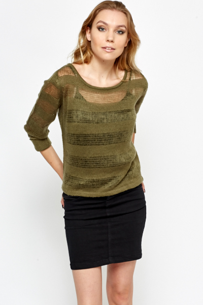Loose Knitted Stripe Sweater
