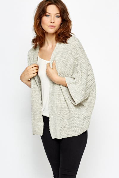 Speckled Cropped Sleeve Cardigan