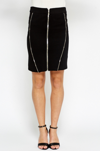 Zip Detail Pencil Skirt