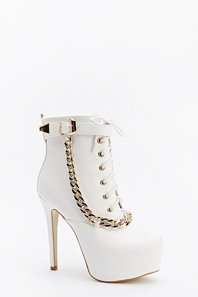 Chain Detail Lace Up Boots