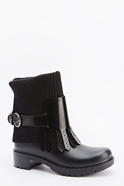 Fringed Buckle Strap Boots