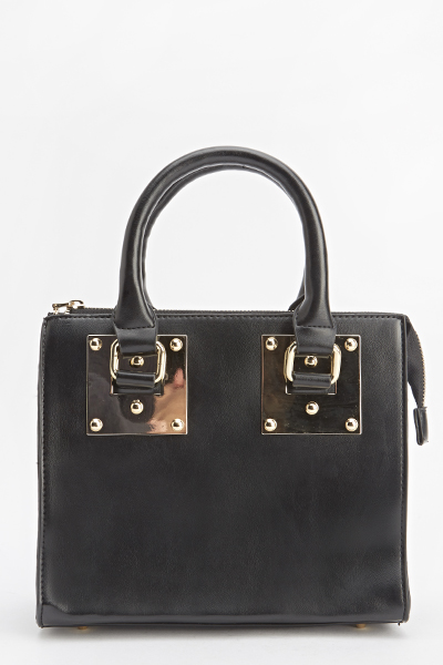 Gold Detail Faux Leather Handbag