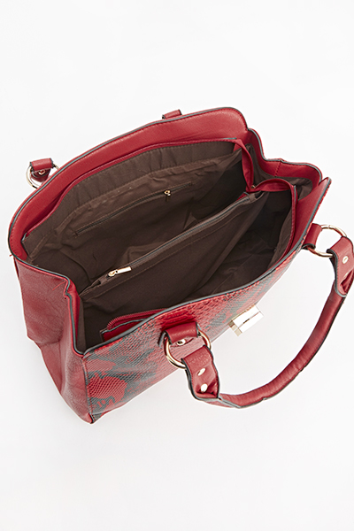 Mock Crock Effect Twist Lock Bag