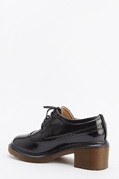 PVC Block Heel Brogues