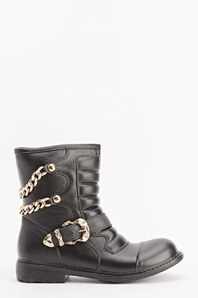 Quilted Twin Chain Biker Boots