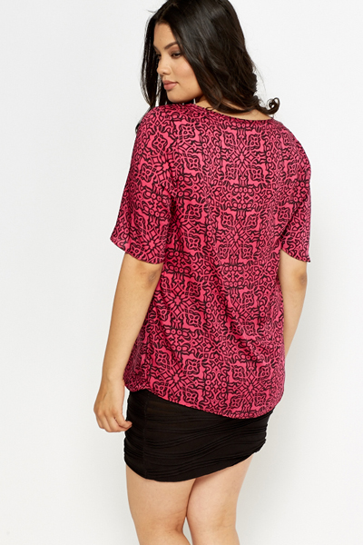 Ornate Fuchsia Silk Feel Top