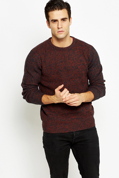 Ribbed Neck Speckled Casual Jumper