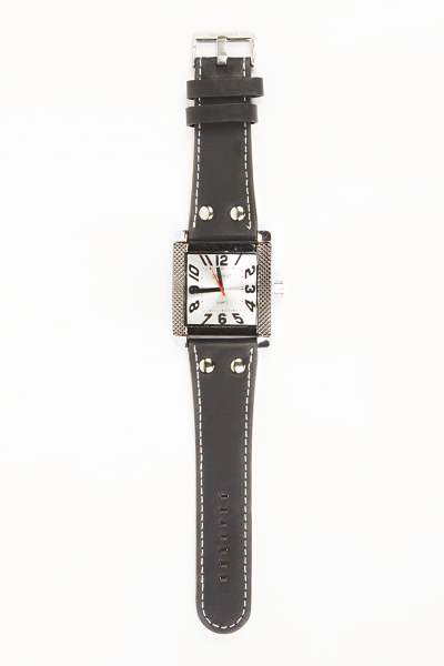 Stud Detail Faux Leather Mens Watch
