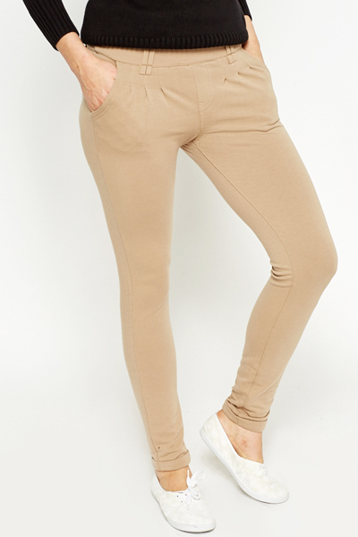 Camel Cotton Slim Leg Jersey Trousers