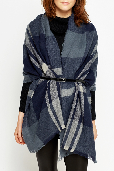 Contrast Checked Open Poncho