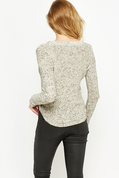 Grey Speckled Loose Knit Jumper