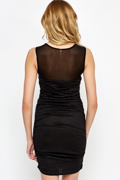 Mesh Insert Ruffle Side Bodycon Dress