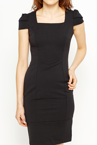 Ruched Cap Sleeve Dress