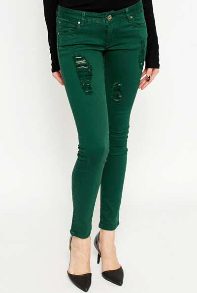 Dark Green Ripped Skinny Jeans Just 163 5