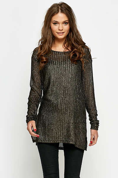 Gold Metallic Knit Oversized Top