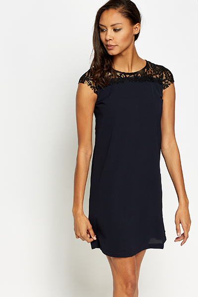 Lace Yoke Shift Dress