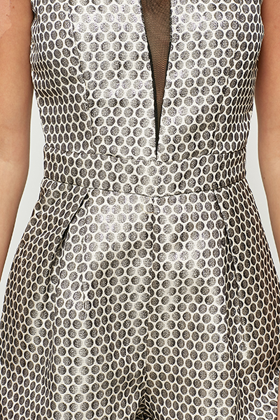 Metallic Mesh Trim Polka Dot Playsuit