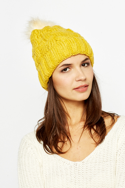 Yellow Faux Fur Bobble Hat - Just £5 ca20881e0e3