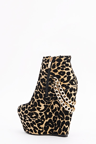 Chain Back Leopard Wedges