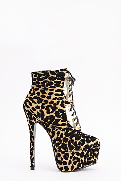 Lace Up Leopard Heeled Boots