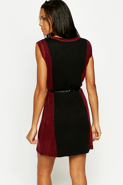 Contrast Belted Tunic Dress