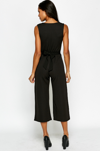 Cropped Plunge Jumpsuit