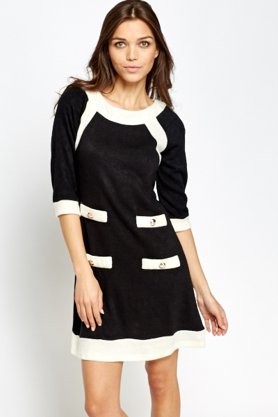 Knitted Contrast Dress