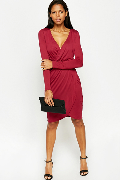 Magenta plunge Wrap Dress - Just £5 fe980d05cdab