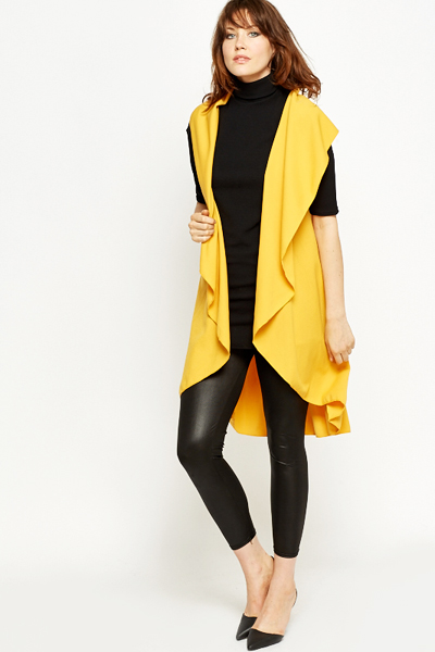 Mustard Long Line Waterfall Cardigan - Just £5