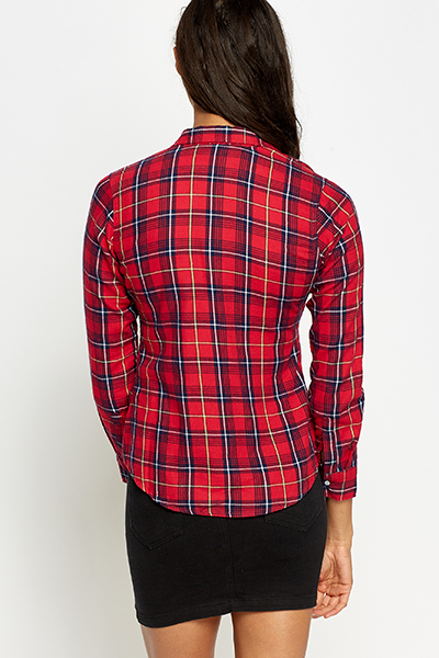 Red Cotton Check Shirt