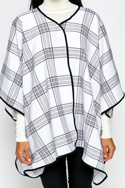 White Check Poncho