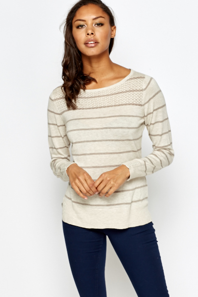 Button Detail Striped Sweater