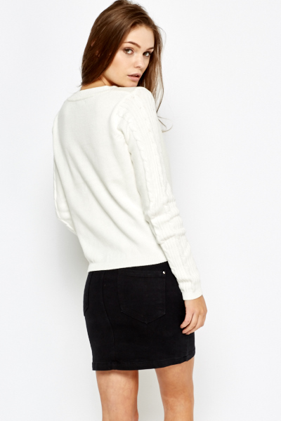 Cream Plait Knit Pullover