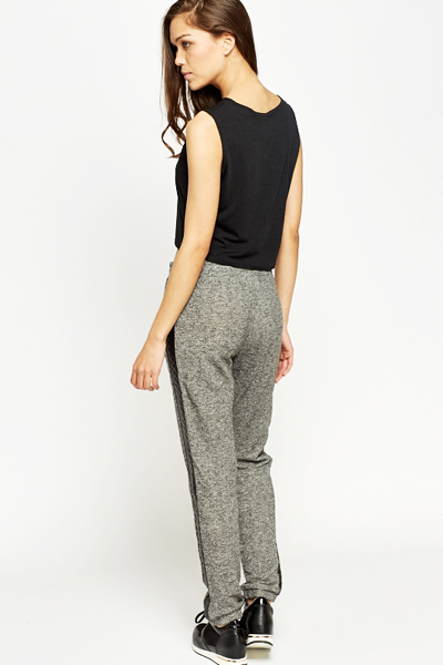 Quilted Faux Leather Trim Joggers
