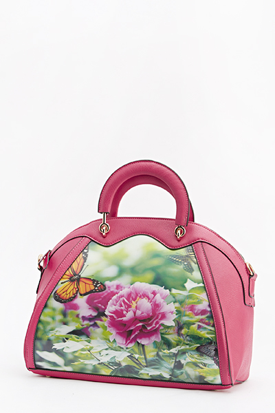 3D Panel Floral Bowler Bag