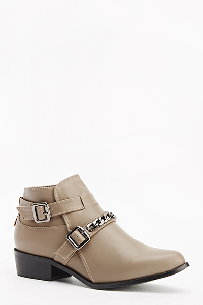 Chain Belted Ankle Boots