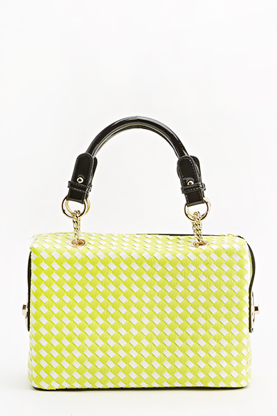 Neon Green Woven Box Bag