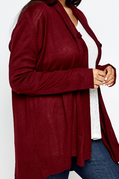 Cable Knit Burgundy Cardigan