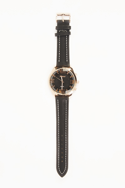Contrast Stitch Round Mens Watch