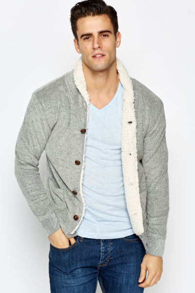 Fleece Lined Button Up Cardigan - Just £5